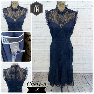 🆕Chelsea28 French Navy Lace Dress Size 8